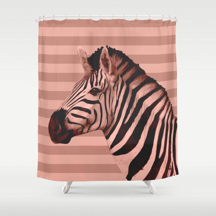 Animals Stripes Peach Zebra Shower Curtain By Printablespassions