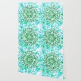 Ocean Aqua Blue Watercolor Mandala , Relaxation & Meditation Turquoise Flower Circle Pattern Wallpaper
