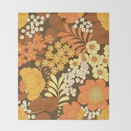 Brown, Yellow, Orange & Ivory Retro Flowers Throw Blanket