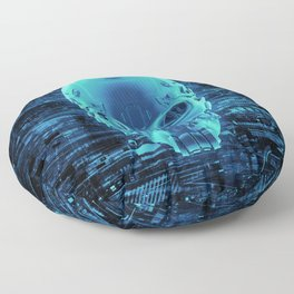 Gamer Skull BLUE TECH / 3D render of cyborg head Floor Pillow