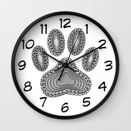 Ink Dog Paw Print Wall Clock