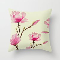 craftberrybush Throw Pillows featuring Pink Magnolia  by craftberrybush