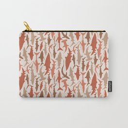 Swimming with Sharks in Coral and Brown Carry-All Pouch