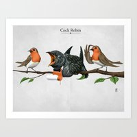 cock Art Prints featuring Cock Robin by rob art | illustration