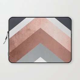 Grey, Bronze Chevron Home Decor Design Laptop Sleeve
