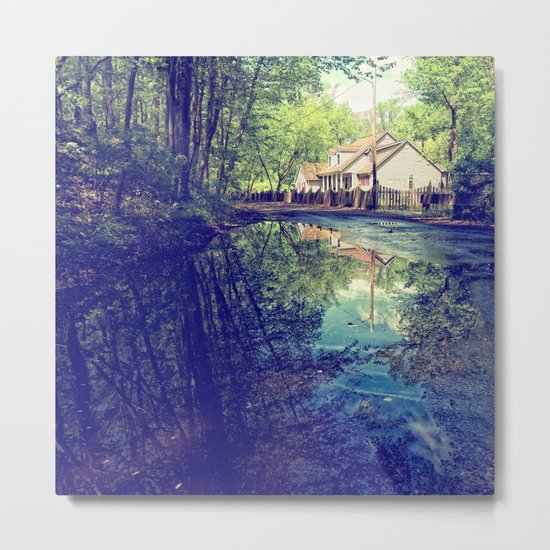Country Lane Reflections Metal Print