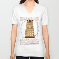 dalek V-neck T-shirts featuring Vitruvian Dalek by Studio Fibonacci