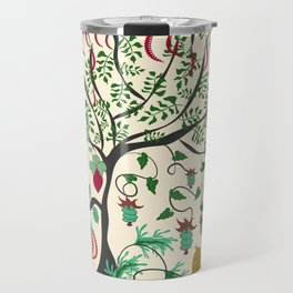 Fairy seamless pattern garden with plants, tree and flowers Travel Mug