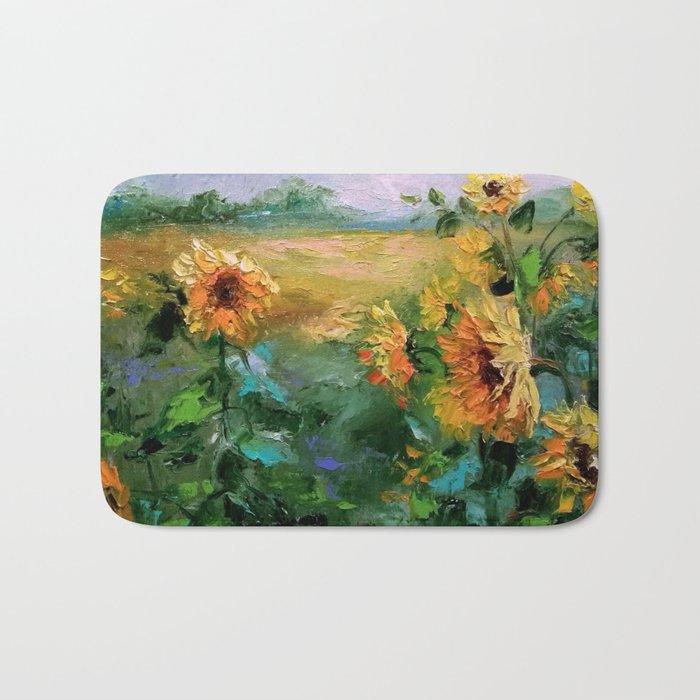 Sunflowers in the wind Bath Mat