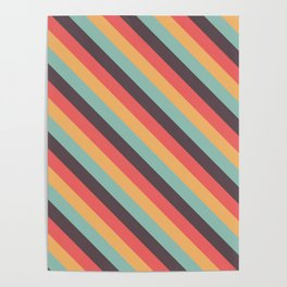 Retro Rainbow Stripes Poster