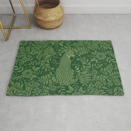 Spring Cheetah Pattern - Forest Green Rug