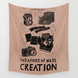 Weapons Of Mass Creation - Photography (blk on brown) Wall Tapestry
