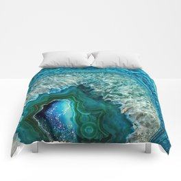 Aqua turquoise agate mineral gem stone- Beautiful Backdrop Comforters