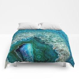 Aqua turquoise agate mineral gem stone Comforters
