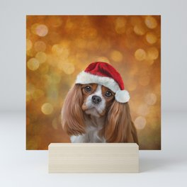 Drawing Dog breed Cavalier King Charles Spaniel  in red hat of Santa Claus Mini Art Print