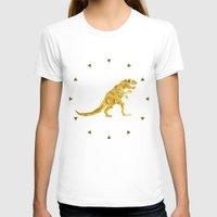 trex T-shirts featuring Golden T.Rex Pattern by chobopop