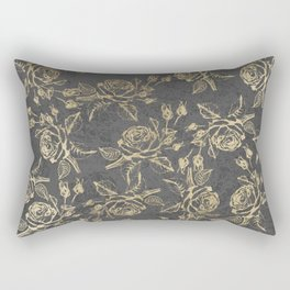 Elegant faux gold gray vintage marble floral Rectangular Pillow