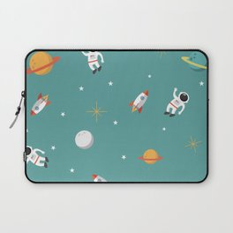 Space Pattern Illustration with Cyan Background Laptop Sleeve