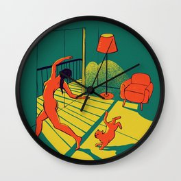 Dancing with the cat | Moody sunset light and shadows Aesthetic Green room Naked dance Femme Fatale  Wall Clock