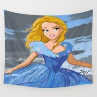 cinderella Wall Tapestries featuring Cinderella  by Yael's Colors