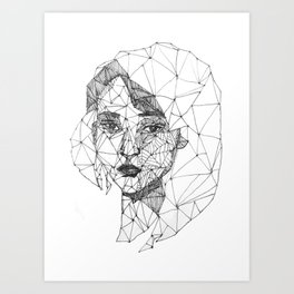 Monochrome Ink-pen Girl Face Art Print