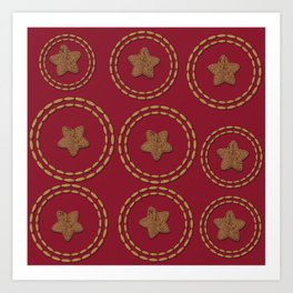 Burgundy & Gold Star Pattern Art Print