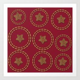 Burgundy Red & Copper Star Pattern Art Print