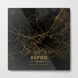 Espoo, Finland - Gold Metal Print