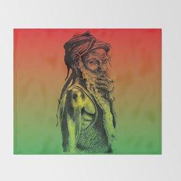 Old rastafarian man smoking against red, yellow, green background Throw Blanket
