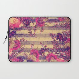 Pink and Gray Tropical Botanical Stripes Laptop Sleeve