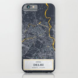 Delhi, India City Map with GPS Coordinates iPhone Case
