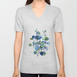 Leaves in blue and green Unisex V-Neck