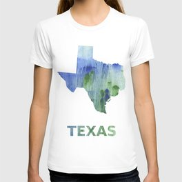 Texas map outline Blue-green watercolor painting T-shirt