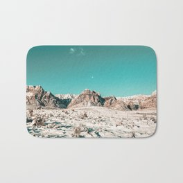 Vintage Picture Desert Snow // Winter Teal Blue Sky Red Rock Canyon Wilderness Park Photograph Bath Mat