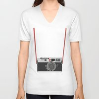 camera V-neck T-shirts featuring Camera by Illustrated by Jenny