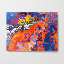 Vibrant Marble Texture no6 - Red Sunset over the Sea Metal Print