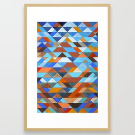 Triangle Pattern no.18 blue and orange Framed Art Print