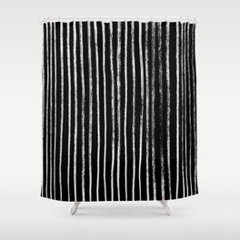 White Line Pattern on Black Shower Curtain