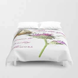 Butterflies Come To Pretty Flowers Korean Proverb Duvet Cover