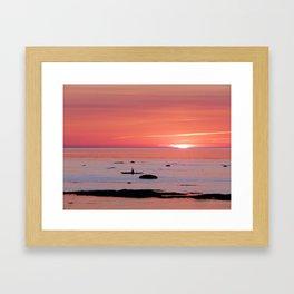 Kayaker and Bird at Last Light Framed Art Print