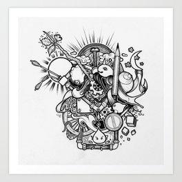 Doodle (Black version) Art Print