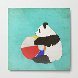 Panda Summer Fun (vintage) Metal Print