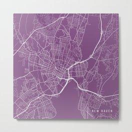 New Haven Map, USA - Purple Metal Print