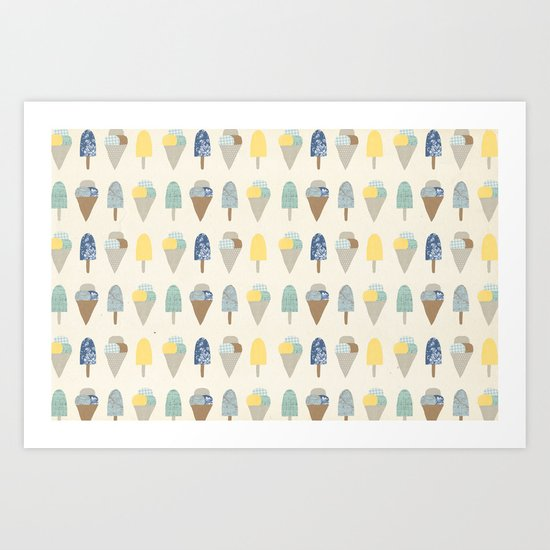 ice cream pattern  Art Print