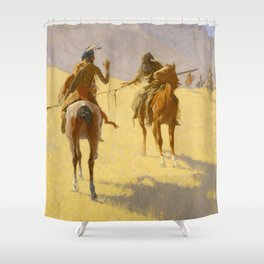 "Frederic Remington Western Art ""The Parley"" Shower Curtain"