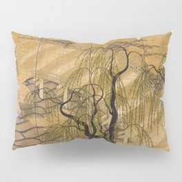Six Panel Japanese Gold Leaves And Trees Pillow Sham