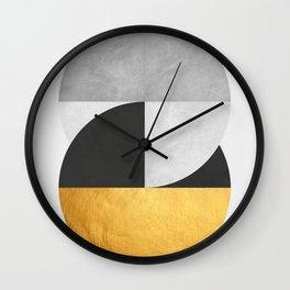 Golden Geometric Art IX Wall Clock