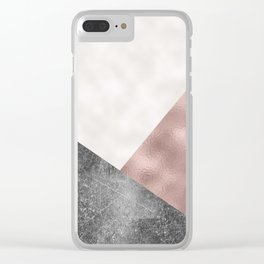 Rose grunge - geo layers Clear iPhone Case