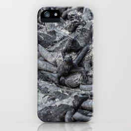 Galapagos marine iguanas sleeping art background iPhone Case
