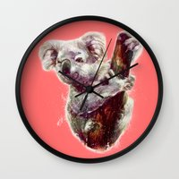koala Wall Clocks featuring Koala by beart24